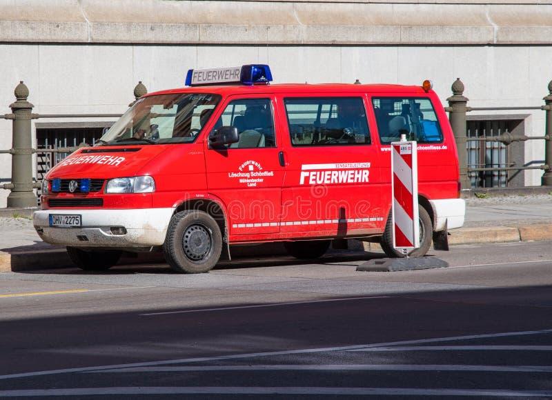 Volkswagen Transporter van from Berlin fire department. Berlin Germany - April 21. 2018: Volkswagen Transporter van from Berlin fire department stock photos