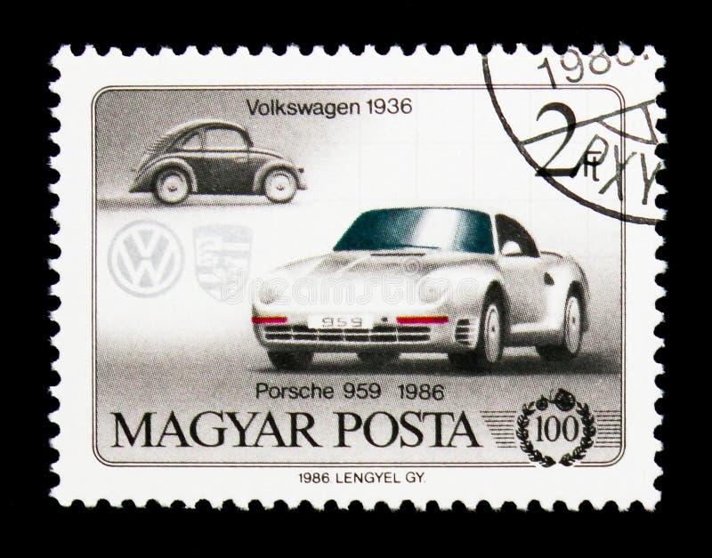Volkswagen 1936 und Porsche 959, Jahrhundert von Autos serie, circa stockfotografie