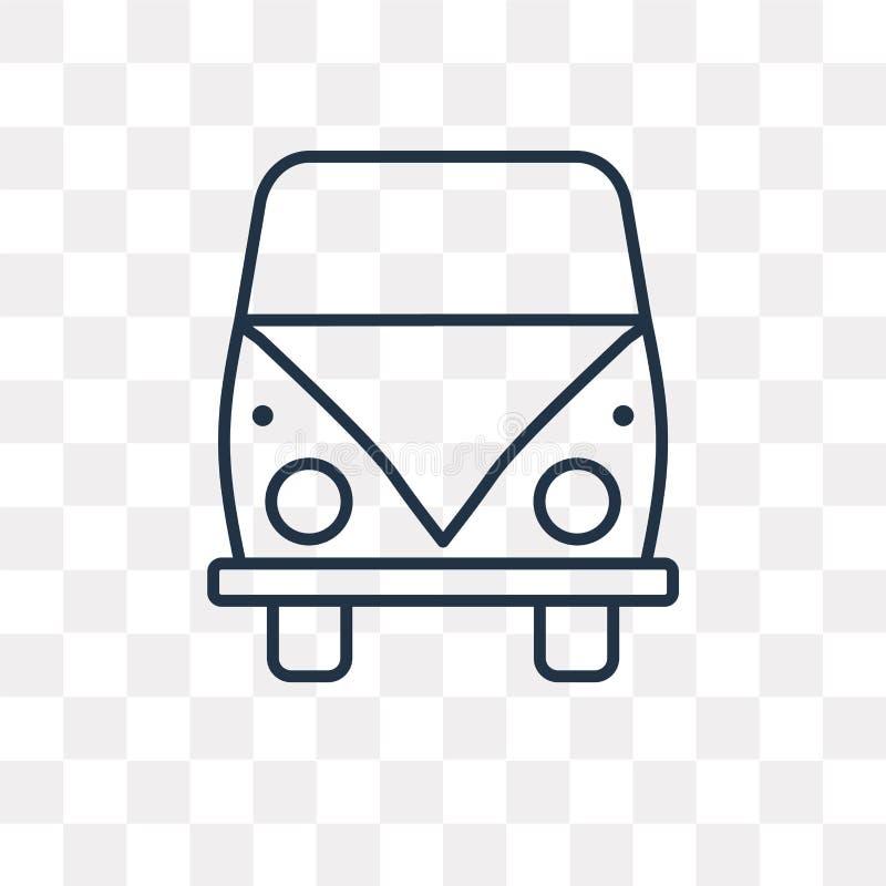 Volkswagen van vector icon isolated on transparent background, l. Volkswagen van vector outline icon isolated on transparent background, high quality linear royalty free illustration