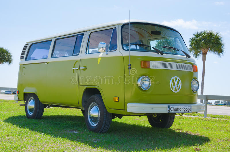 Volkswagen VW Camper Van antique car green & white royalty free stock photo