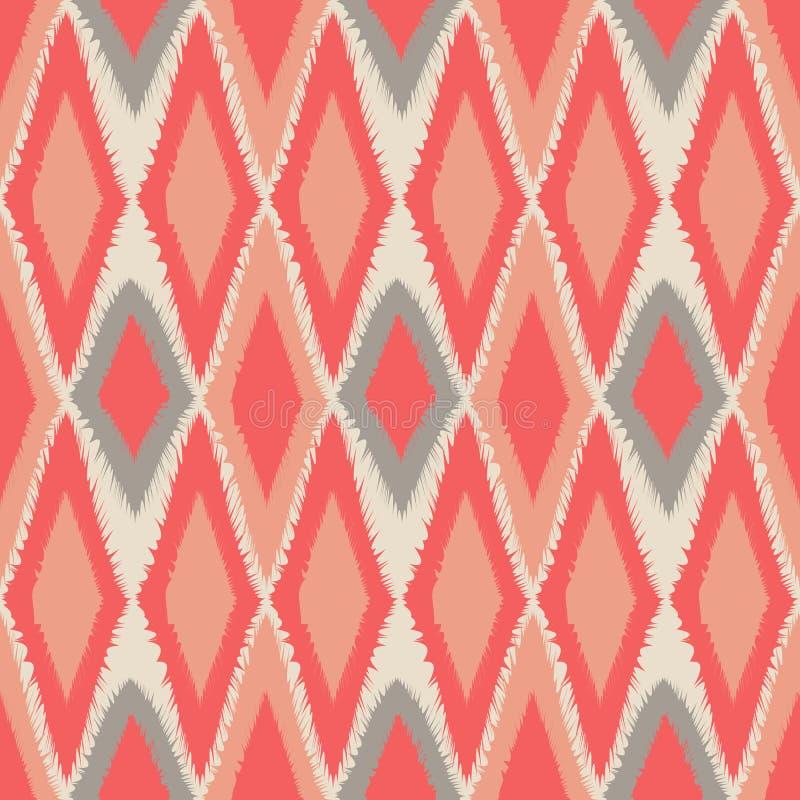 Volkswiederholen abstrakten Stammes- Kunst ethnischen nahtlosen Ikat-Musters lizenzfreie abbildung