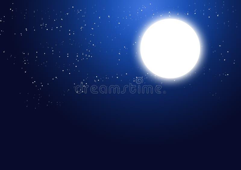 Voll glühen - Mond und Sterne lizenzfreie abbildung