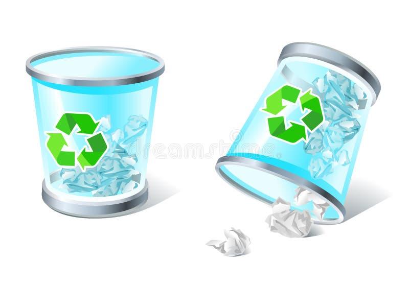 Voll u. umgeworfene Abfallkorbikonen stock abbildung