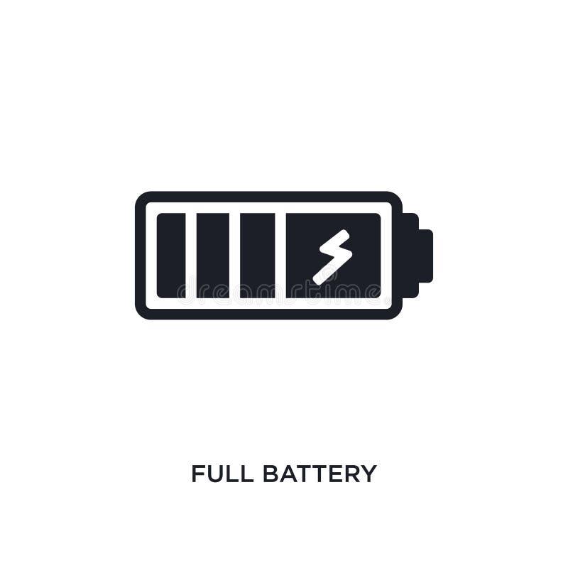 volle Batterie lokalisierte Ikone einfache Elementillustration vom elektronischen Material Konzeptikonen füllen editable Logozeic stock abbildung