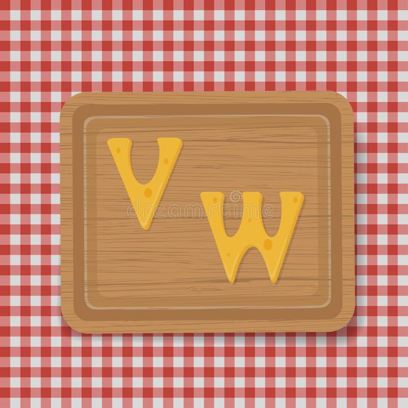 Volle Buchstaben des Käses eingestellt Vektorschriftbildalphabet lizenzfreie abbildung