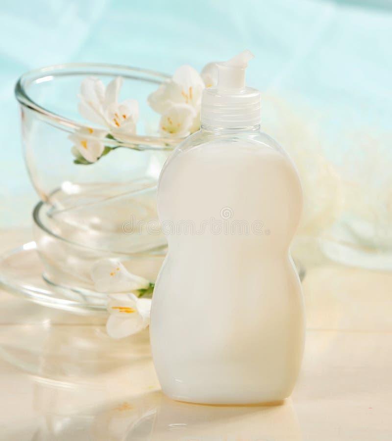 Volle Flasche der Tellerreinigung lizenzfreie stockbilder