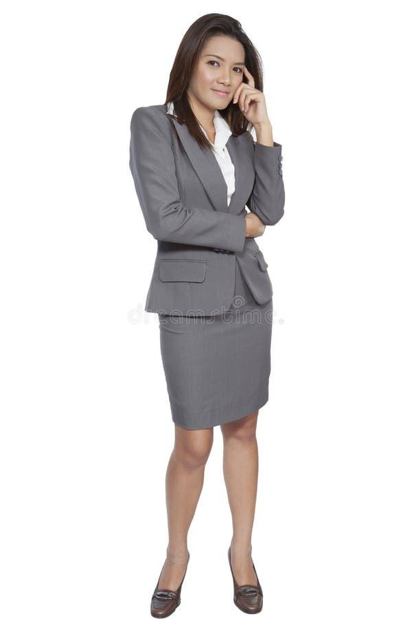 Volle Geschäftsfrau-Geste des Körpers asiatische attraktives positives smili stockfotografie