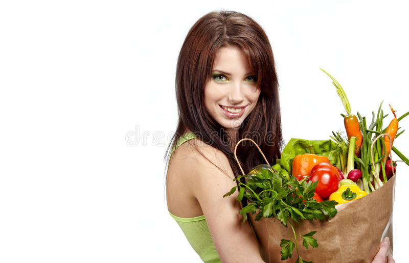 Volle gesunde Nahrung des Frauenholding-Beutels lizenzfreies stockfoto