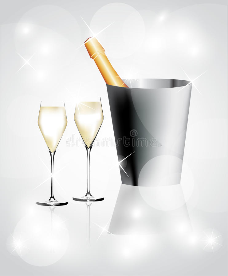 Champagne in einem Eimer stock abbildung