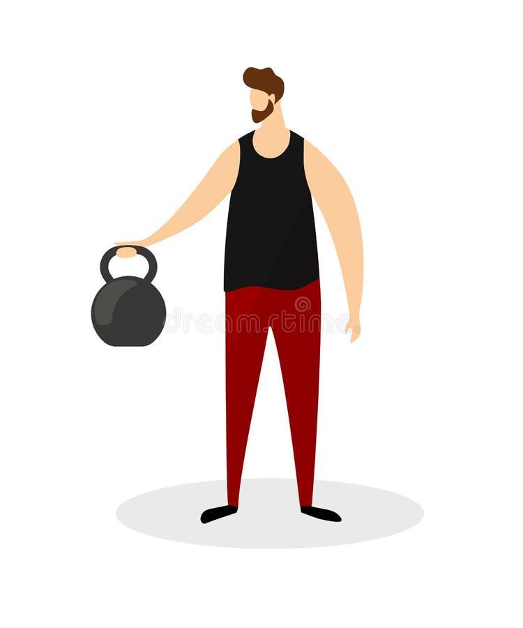Volle Höhen-starker Mann, der Übungen mit Gewicht tut stock abbildung