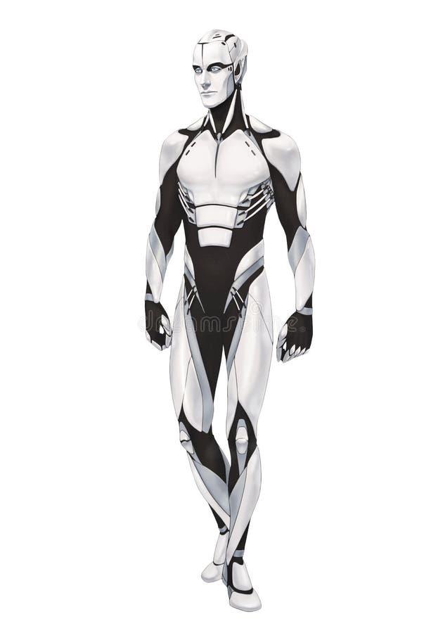 Volle Körperstellung der futuristischen Cyborgillustration lokalisiert lizenzfreies stockbild