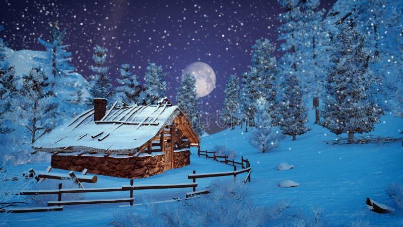 Volle maan boven sneeuw weinig hut bij sneeuwval vector illustratie