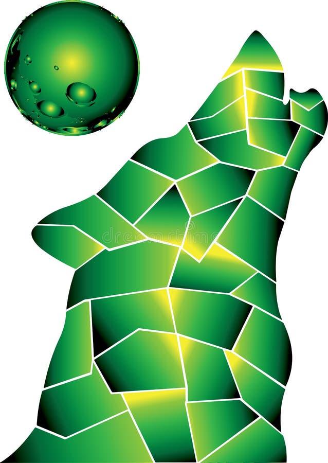 Volle maan De groene wolf is hier vector illustratie