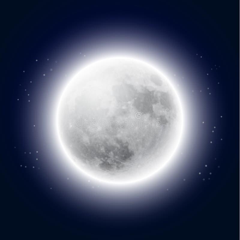 Volle maan in de nachthemel vector illustratie