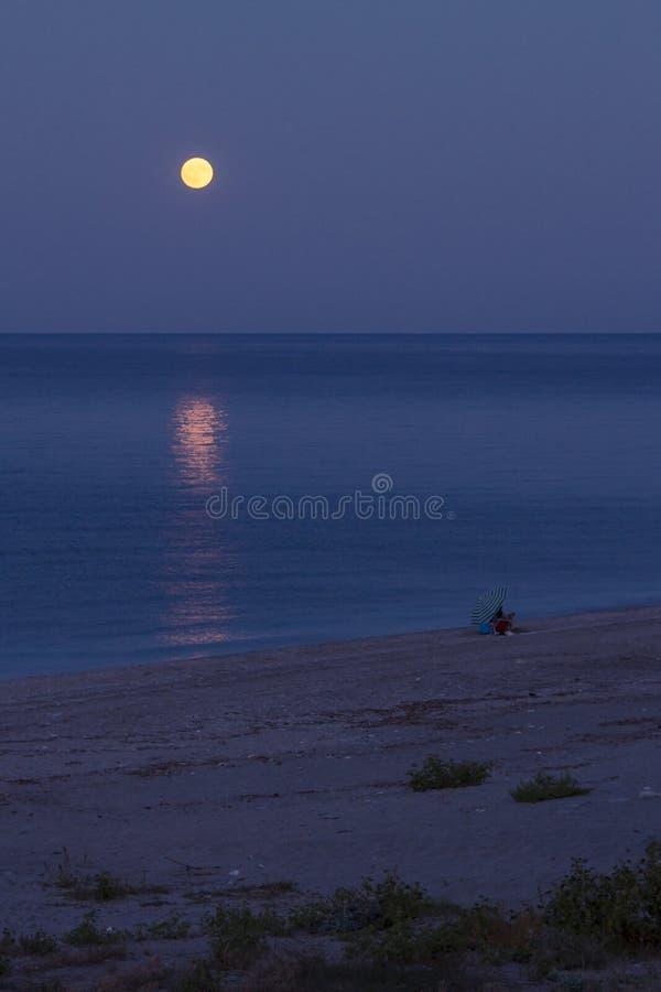 Volle maan die in het overzees nadenken stock fotografie
