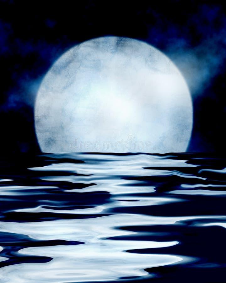 Volle maan die overzees overdenkt royalty-vrije illustratie