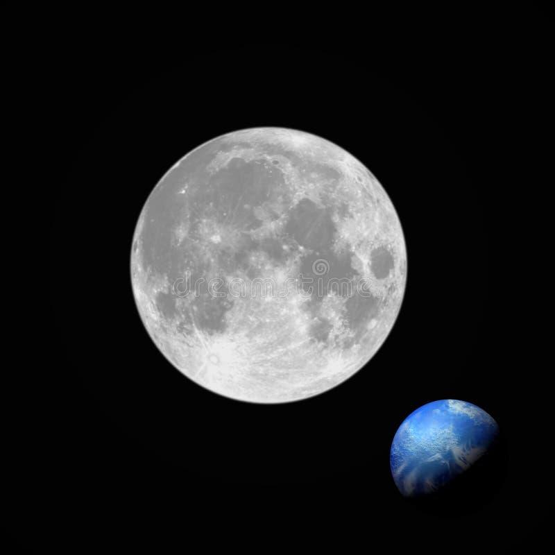 Volle maan en aarde vector illustratie