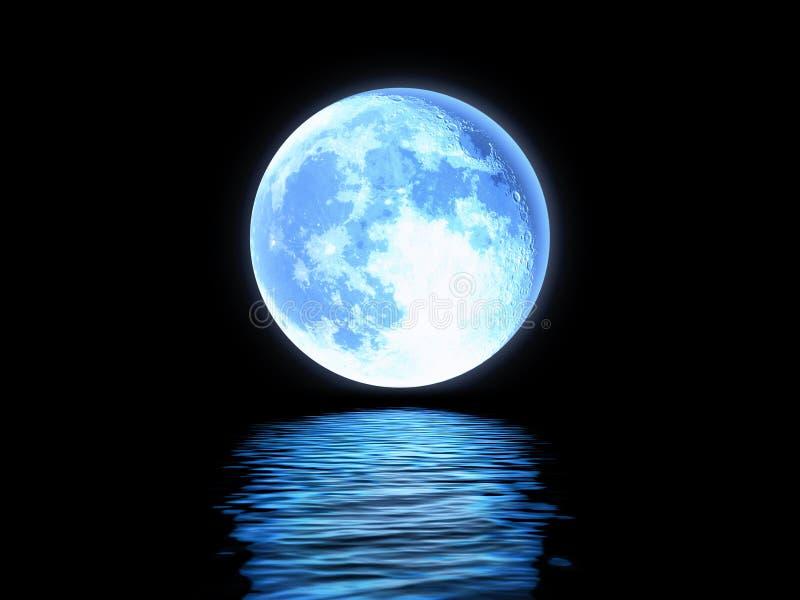 Volle maan in het water wordt weerspiegeld dat royalty-vrije illustratie
