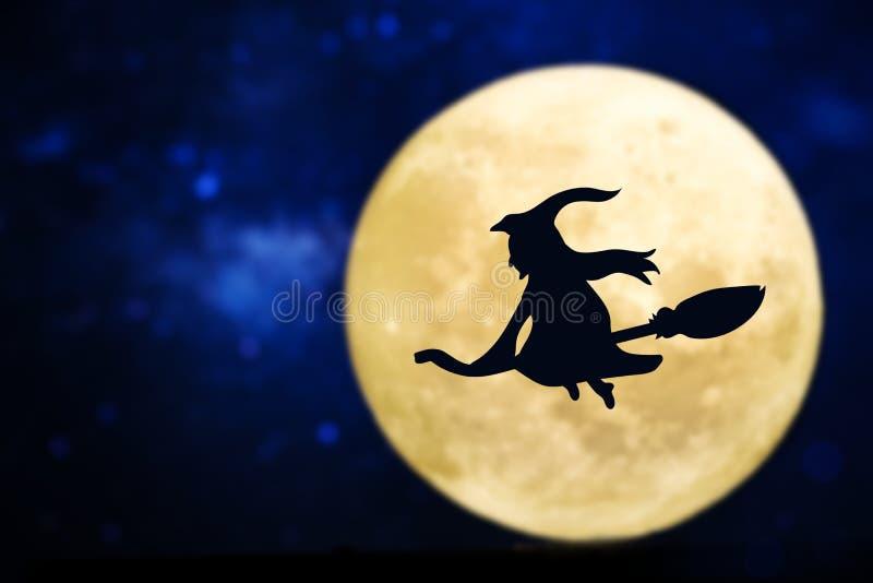 Volle maan met een schaduw van een heks stock illustratie