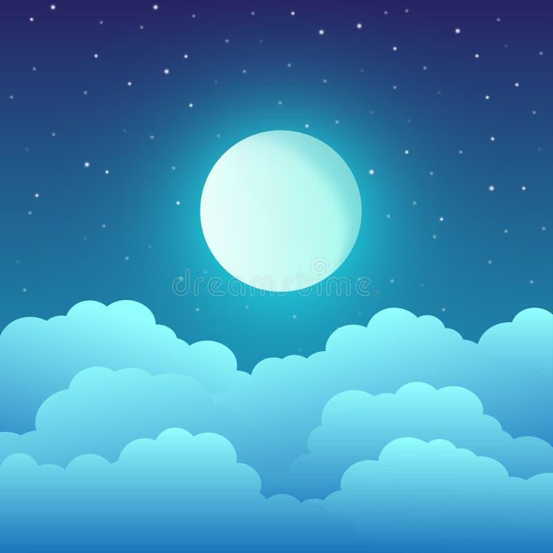 Volle maan met wolken en sterren in de nachthemel royalty-vrije illustratie