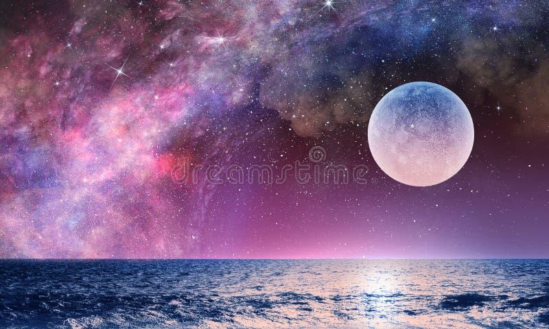 Volle maan in nacht sterrige hemel royalty-vrije illustratie