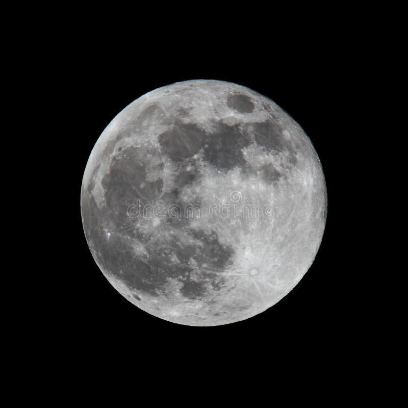 Volle maan op zwarte wordt geschoten die stock afbeelding