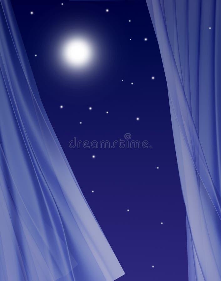 Volle maan in open venster stock illustratie