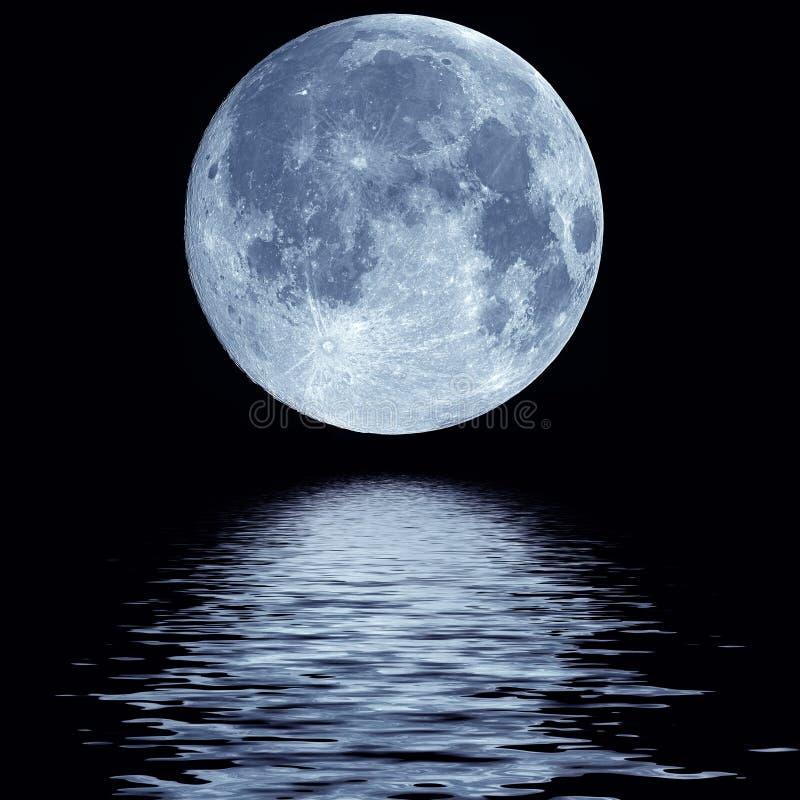 Volle maan over water stock afbeelding