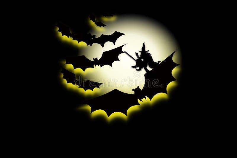 Volle maan van gelukkige Halloween-dag op donkere achtergrond stock illustratie