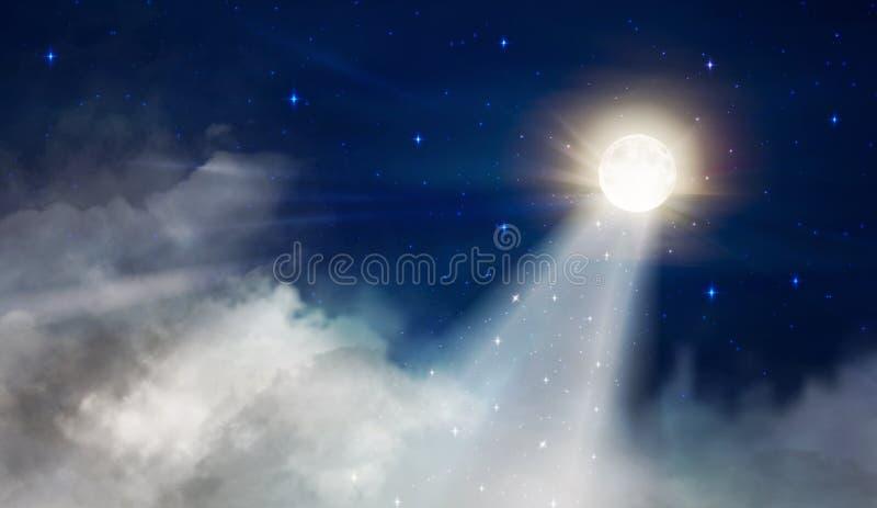 Volle maan zoals een hemel van de vuurtorennacht met grote pluizige wolken stock illustratie