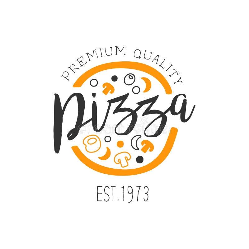 Volle Pizza mit orange und schwarze Bestandteil-erstklassige Qualitäts-italienischer Pizza-Schnellimbiss-Straßen-Café-Menü-Förder lizenzfreie abbildung