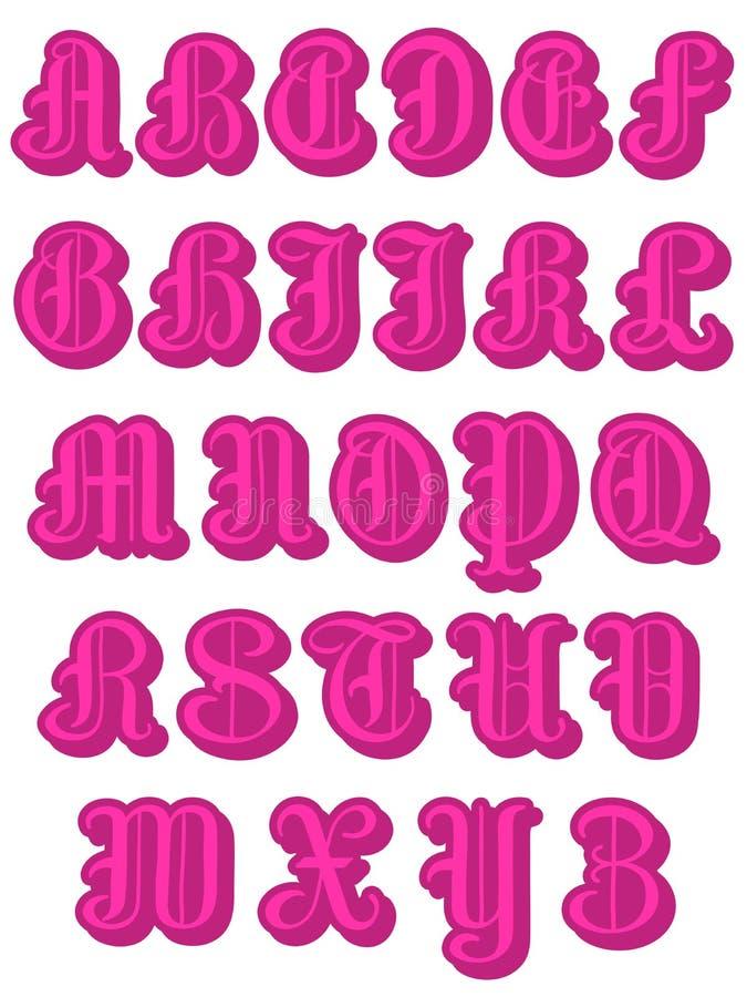 Volledig alfabet in roze ronde kapitalen vector illustratie