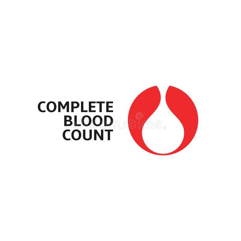 Volledig bloedonderzoek, witte bloeddaling in rood rond, vector abstract embleem stock illustratie