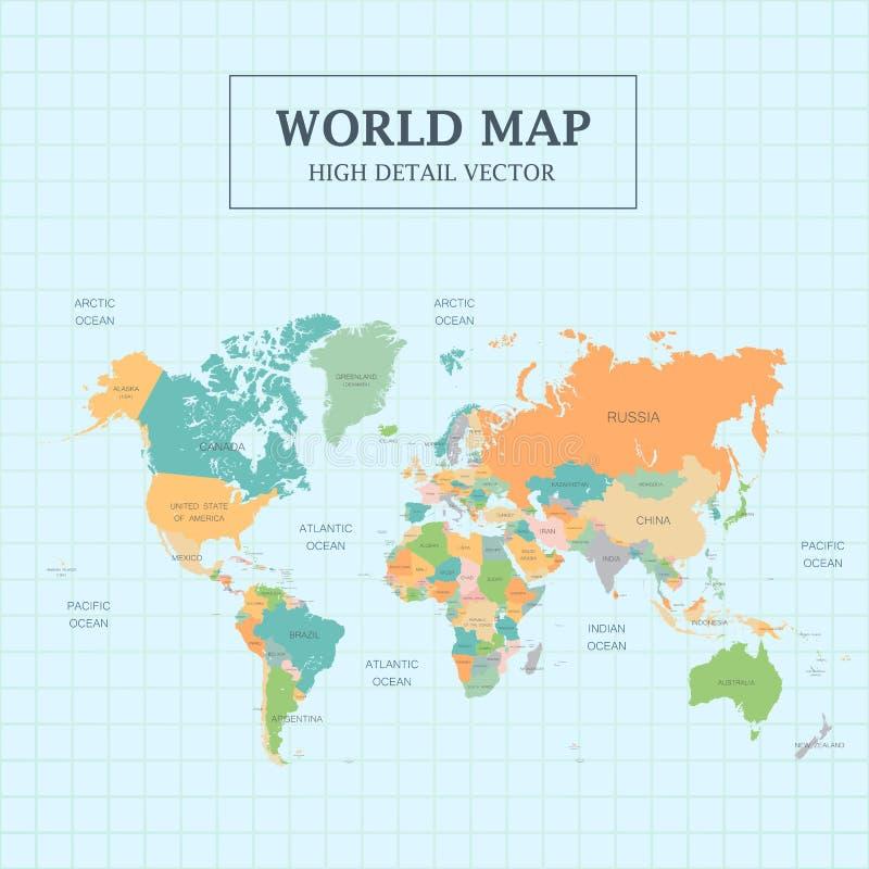 Volledig de Kleuren Hoog Detail van de wereldkaart stock illustratie