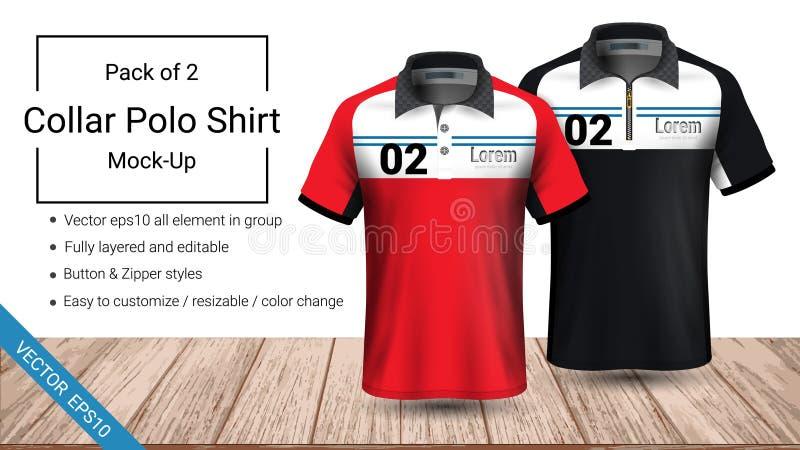 Volledig gelaagd de t-shirtmalplaatje van de polokraag, Vectoreps10-dossier en editable bereid geweest om het douaneontwerp te de vector illustratie