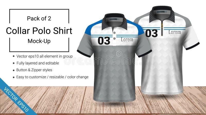 Volledig gelaagd de t-shirtmalplaatje van de polokraag, Vectoreps10-dossier en editable bereid geweest om het douaneontwerp te de stock illustratie