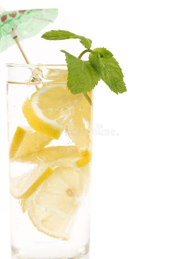 Volledig glas water met citroen en munt stock foto