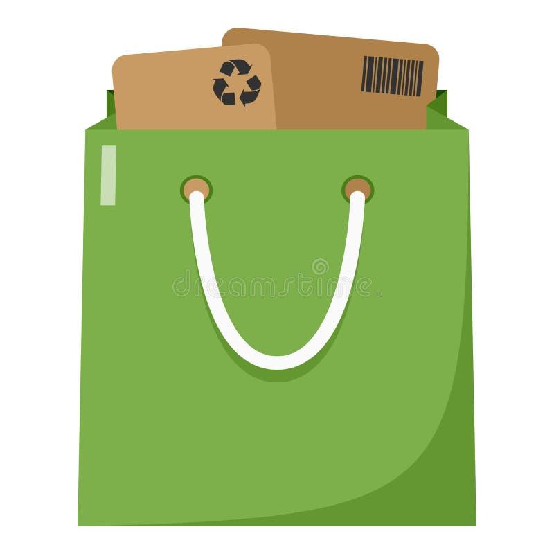 Volledig Groen het Winkelen Zak Vlak Pictogram op Wit stock illustratie