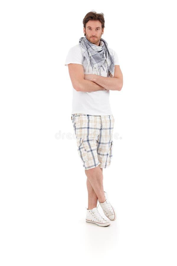 Volledig - grootteportret van de knappe jonge mens stock afbeeldingen