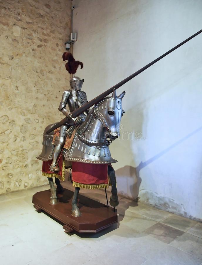 Volledig Kostuum van Pantser, Segovia Militair Museum, Spanje royalty-vrije stock afbeelding