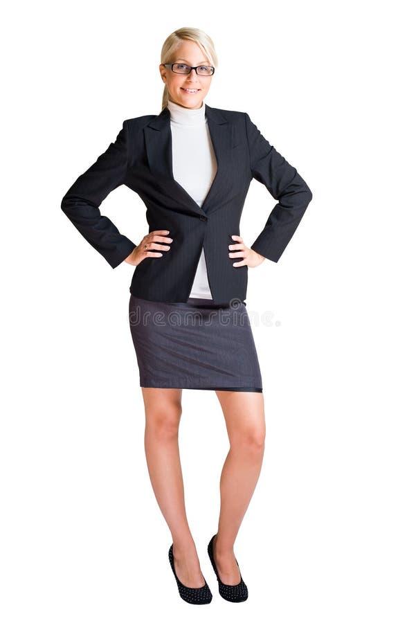 Volledig lengteportret van blonde bedrijfsvrouw. royalty-vrije stock afbeelding