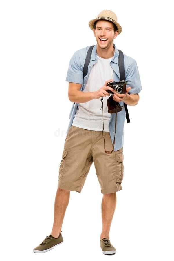 Volledig lengteportret van de gelukkige mens van de toeristenfotograaf op wit stock afbeeldingen
