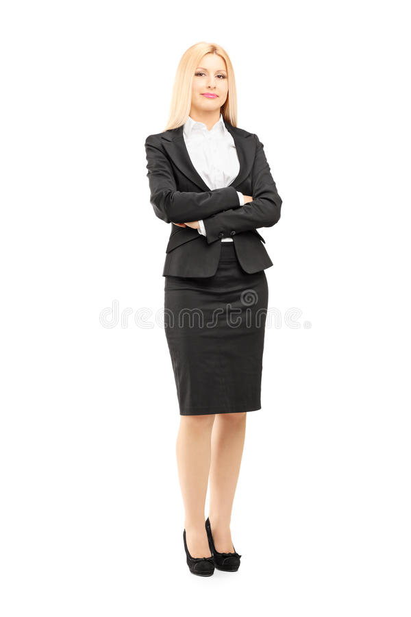 Volledig lengteportret van een blonde onderneemster die camera bekijken royalty-vrije stock afbeelding