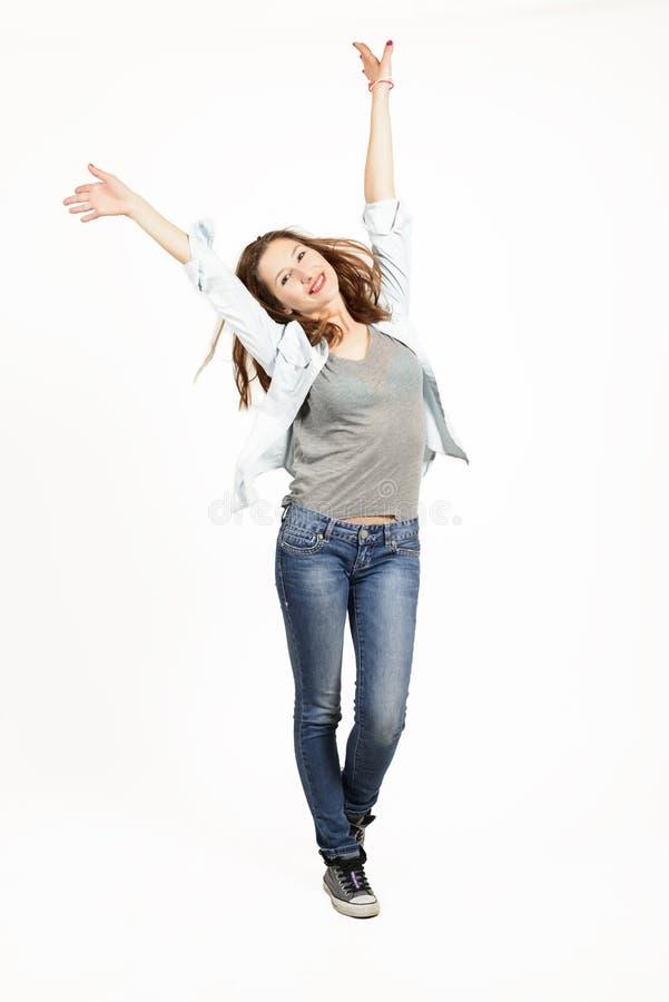 Volledig lengteportret van een expressief mooi meisje royalty-vrije stock foto's