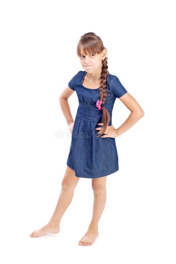 Volledig lengteportret van een gelukkig meisje stock afbeeldingen