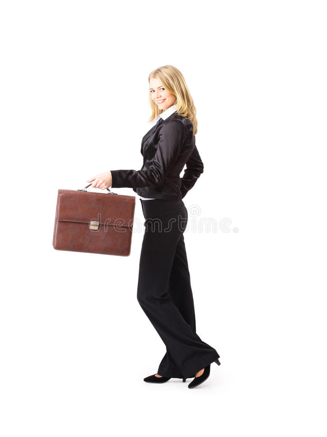 Volledig lengteportret van een jonge bedrijfsvrouw stock afbeelding