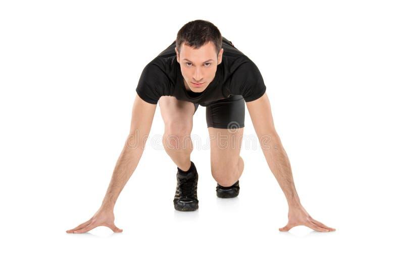 Volledig lengteportret van een mannelijke atleet stock afbeeldingen