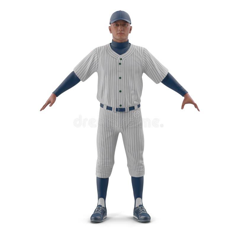 Volledig lengteportret van een mannelijke honkbalspeler op wit 3D Illustratie vector illustratie