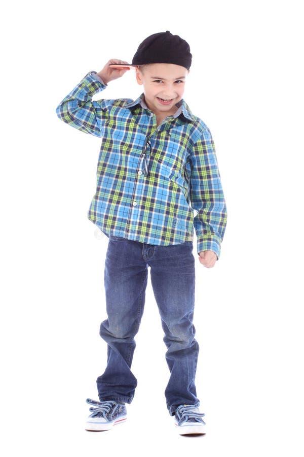Volledig lengteportret van het glimlachen van weinig jongen in jeans stock afbeelding