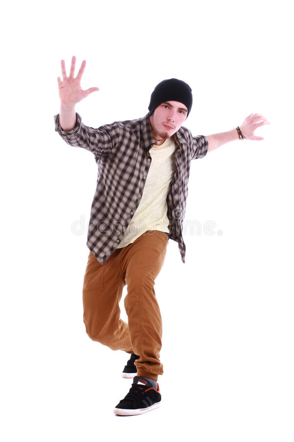 Volledig lengteportret van hiphop mannelijke danser stock foto